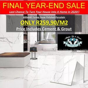 600×600 Turkey Carrara Polished Porcelain + Cement & Grout (R259.90/M2)