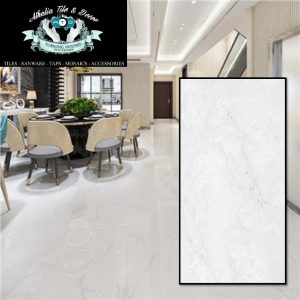 600×1200 Belleza White Polished Porcelain (High Gloss) + Cement & Grout (R389.90/M2)