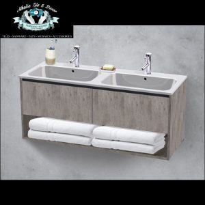 Miami Wall Hung Double Basin & Vanity Grey