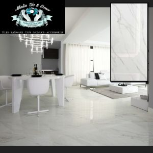600×1200 Carrara Polished Porcelain + Cement & Grout (R389.90/m2)